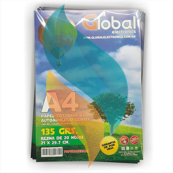 Papel Fotografico Autoadhesivo Glossy Global A4 100hjs 135gr