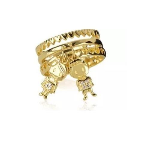 Anel De Ouro 18k/750 3 Pingentes Menino/menina E Diamantes