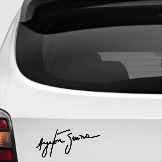 Adesivo Assinatura Ayrton Senna S/ Fundo Frete Fixo
