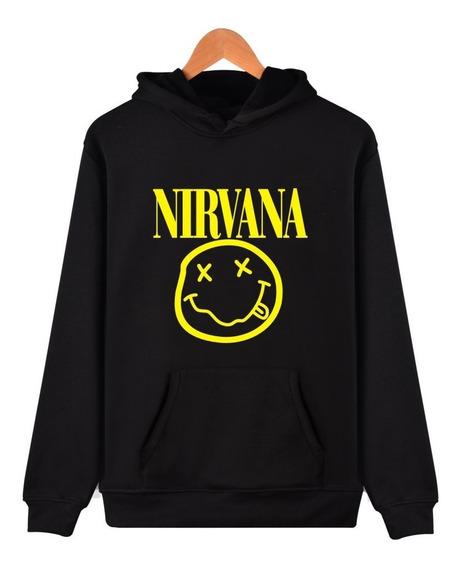 Nirvana Buzo Canguro Con Capucha - Grunge - Rock - Smeily