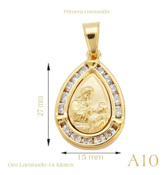 Regalo Cadena Medalla Para Primera Comunión Oro Lam 14 K,