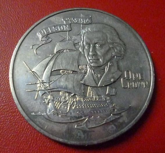 Gibraltar Moneda 175 Aniv Horacio Nelson 1 Crown 1980 Barco