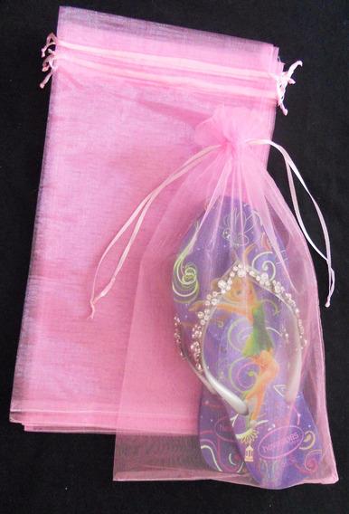 50 Sacos De Organza Rosa, Saquinhos Rosa P/ Chinelo 20x35cm