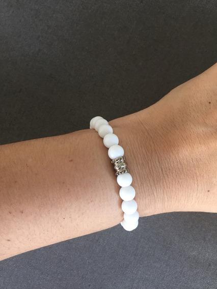 Pulseira Masculina Feminina Pedras Onix Branco Fosco Matte