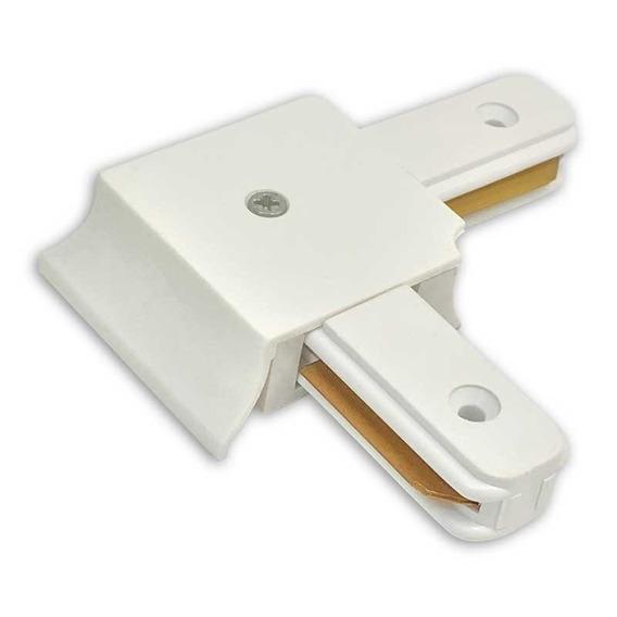 Conector De Trilho Eletrificado Na Cor Branca Formato L