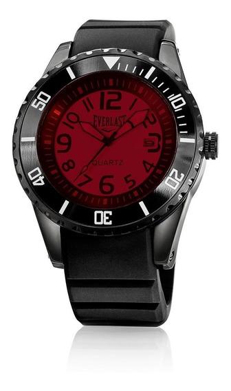Relógio Pulso Everlast Masculino Calendário Preto E517
