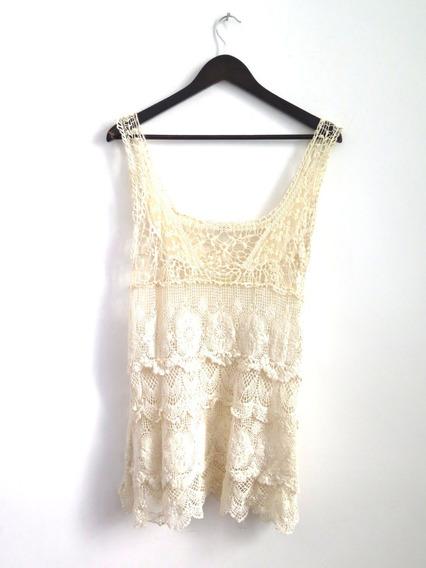 Vestido Encaje Guipiur Algodon Manteca Importado Talle M