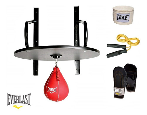 Imagen 1 de 5 de Kit Everlast Plataforma Soporte Pera Guantes Vendas Soga Box Boxeo Punching Puching Ball Speed Bag Baires Deportes