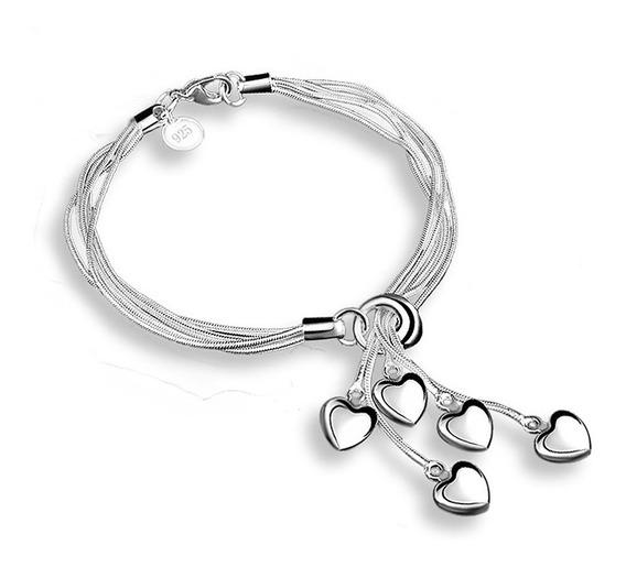 Pulseira 5 Corações Formato Prata Banhado Heart