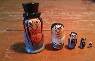 Mini Muñeca Rusa Hecha A Mano, Familia Judía, 5 Piezas, 1,5