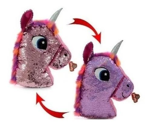 Almohadon Unicornio Lentejuelas 45 Cm Peluche Educando