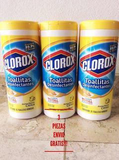 Toallitas Desinfectantes Clorox Limon 3 Botes De 35pzs. C/u