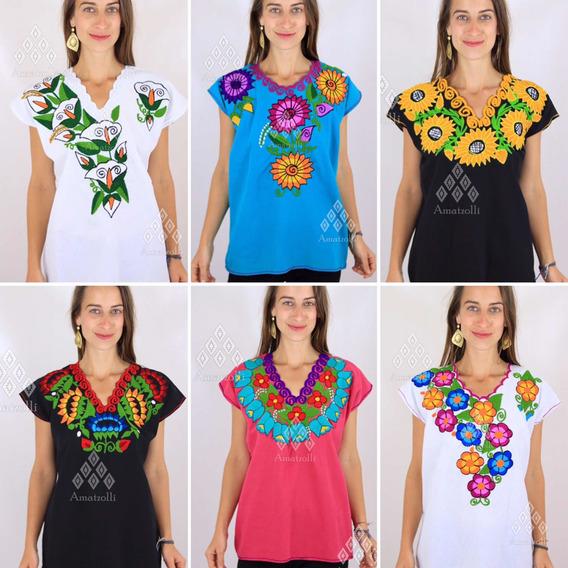Paca 100 Blusas Artesanales Mexicanas Bordado Varios Diseños