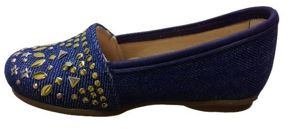 Sapatilha Menina Infantil Kidy Jeans Baby Azul Detalhes 0239
