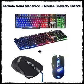 Kit Teclado Semi Mecânico E Mouse Gamer Profissional