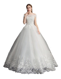 Nb51 Vestido De Noiva Canoa Barra Renda Véu Saiote Princesa