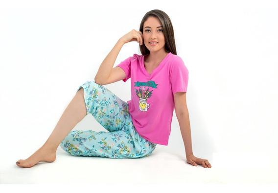 Pijama De Dama Juvenil Algodón Capri Hello Summer M/ Corta