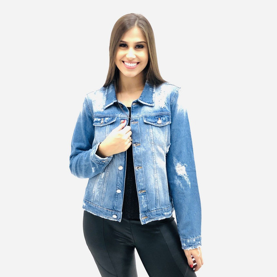 Jaqueta Malwee Destroyed Jeans Feminina