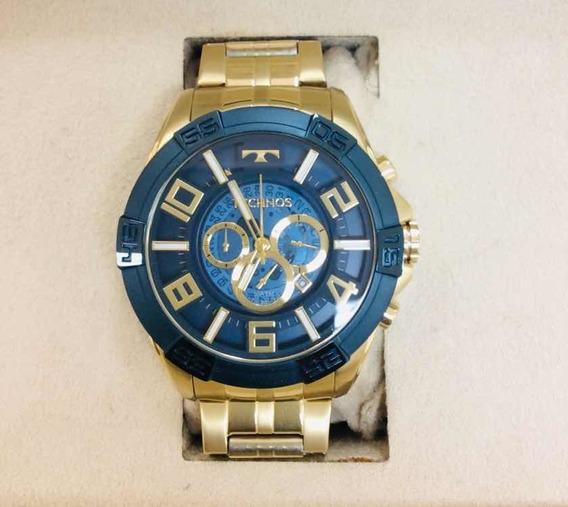 Relógio Technos Luxo Grande Com Banho De Ouro