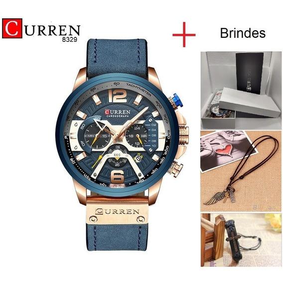 Relógio Curren 8329 + Caixinha Original + Colar + Bracele