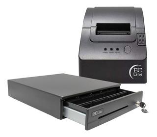 Kit Punto De Venta Ec Line Cajon De Dinero Impresora Termica