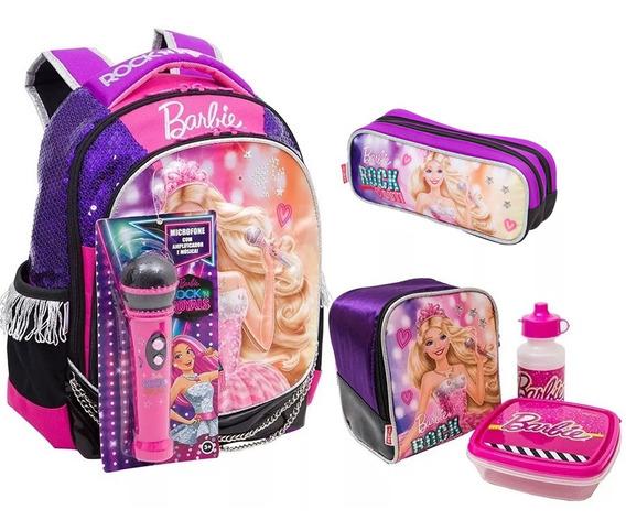 Kit Mochila Infantil Barbie Rock Roxa Original M + Brinde
