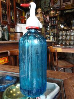 Sifón Antiguo Soda La Argentina, Facetado, Azul. 40014