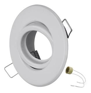 Spot Dicroica Embutir Blanco Movil Led Dicro Redondo Acero