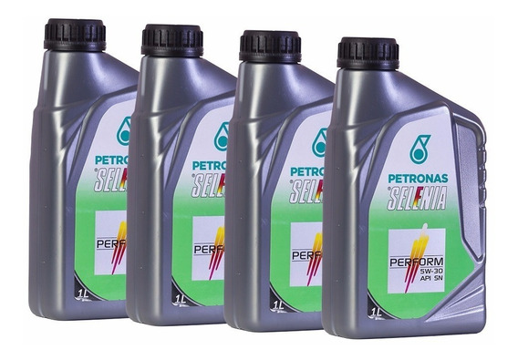 4 Óleo De Motor Selênia Perform 5w30 Sintético Api Sn 1l Kit
