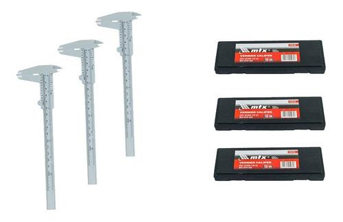 Kit 03 Paquimetro Universal Metalico 150mm/mtx + Case