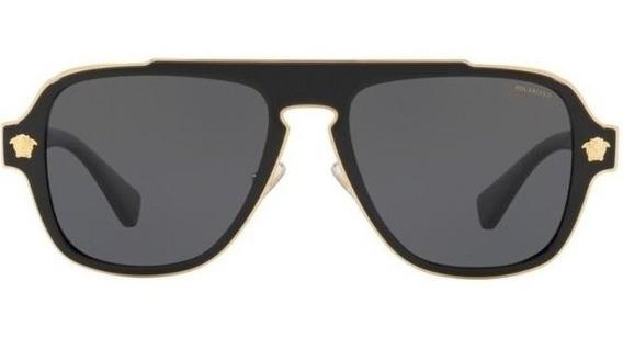 Lentes De Sol Versace Ve2199 1002/81 Negro-dorado Polarizado