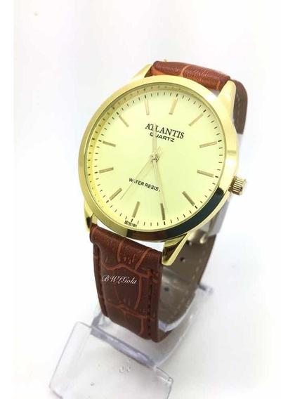 Relógio Atlantis Social Pulseira De Couro Marrom Classico