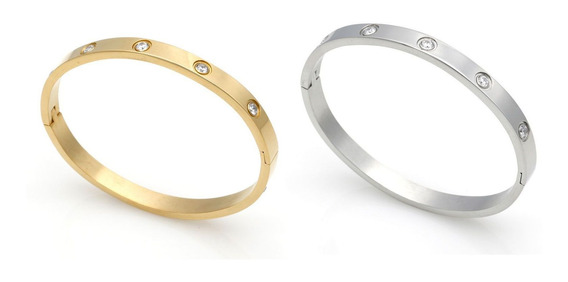 Kit 02 Braceletes Femininos Vernazza De Aço C/ Nf + Garantia