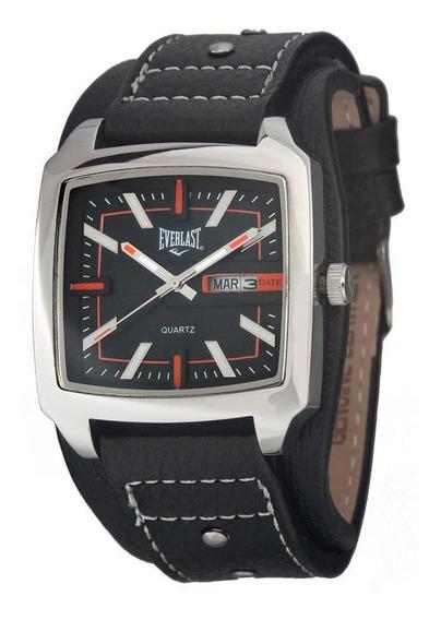 Relógio Pulso Everlast Masculino Aço Couro Calendário E347