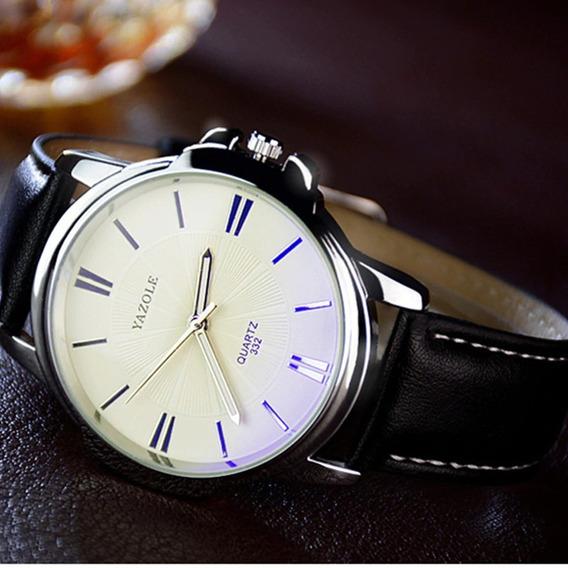 Relógio Masculino Prata Pulseira De Couro Barato Cromado Aço
