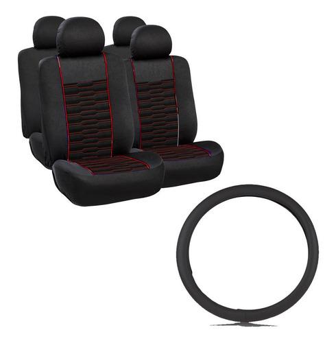 Imagen 1 de 1 de Gts Cubre Asiento + Cubre Volante Negro - Rojo