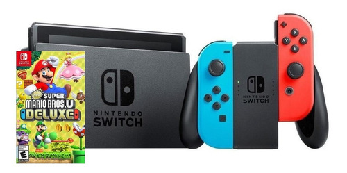 Nintendo Switch 32GB New Super Mario Bros U Deluxe Edition rojo neón, azul neón y negro