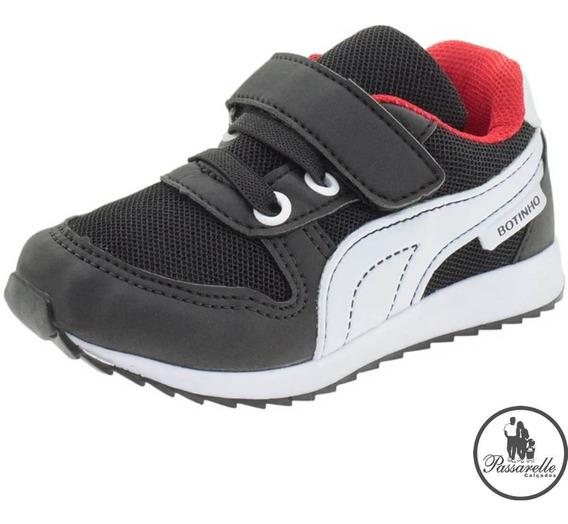 Tênis Infantil Meninos Botinho Esportivo Com Velcro - Preto