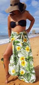 Saída De Praia, Saia Pareô Luxo, Canga Luxo Cléo Floral Moda