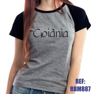 Camiseta Raglan Baby Look Goiânia Goiás Mescla