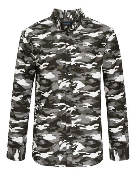 Cristalino Camisa Camuflaje Slim Fit Casual Algodon 7590141