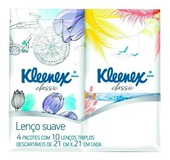 Lenço De Papel Kleenex Bolso 10 Lenços Triplos 4 Pacotes