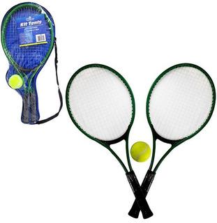Raquete De Tenis Com 2 Unidades + Bolinha 52x22cm Na Bolsa