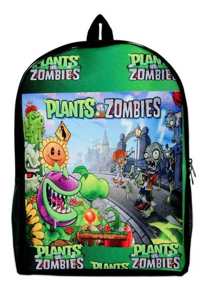 Mochila Clasica Escolar Plantas Vs Zombies, Unica!!!