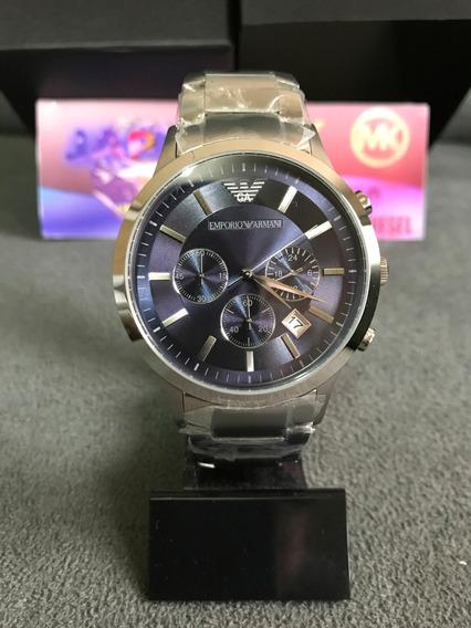 Relógio Emporio Armani Ar2448 Azul Original Completo Caixa