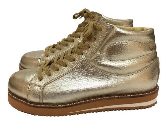 Zapatilla Botita Borcego Mujer Sneakers Bendito Cuero Malva