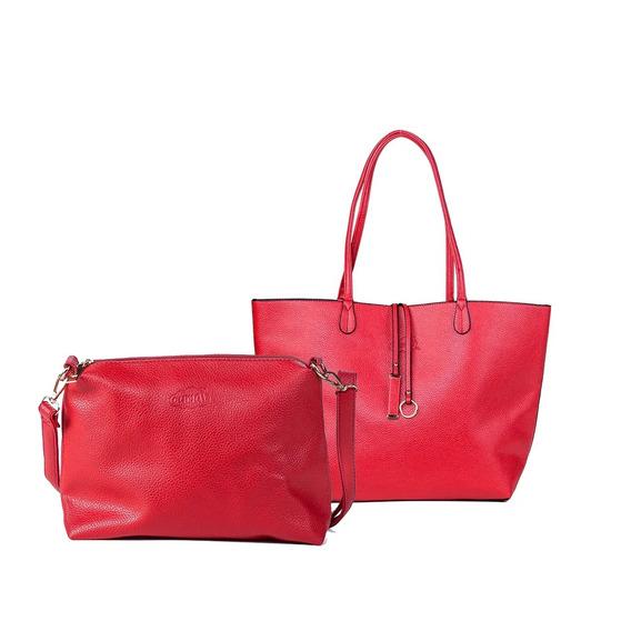 Bolsa Feminina Sacola Shopper Vermelha Com Branco Oumai