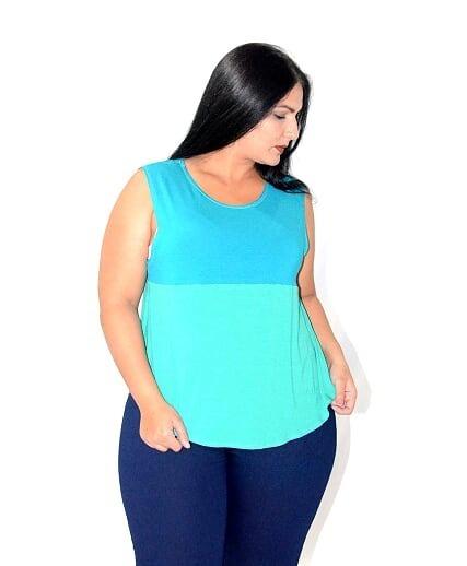 Blusa Camiseta Regata Bicolor Plus Size Em Viscolycra