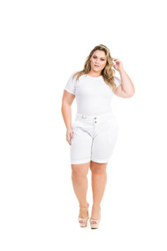 4b3bf7979 Shorts Casual Feminino Para Gordinha Moda Grande Shj227