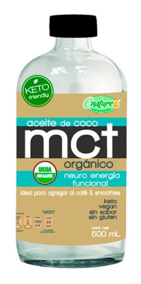 Aceite De Coco Organico Mct Enature Sin Sabor 500ml Keto